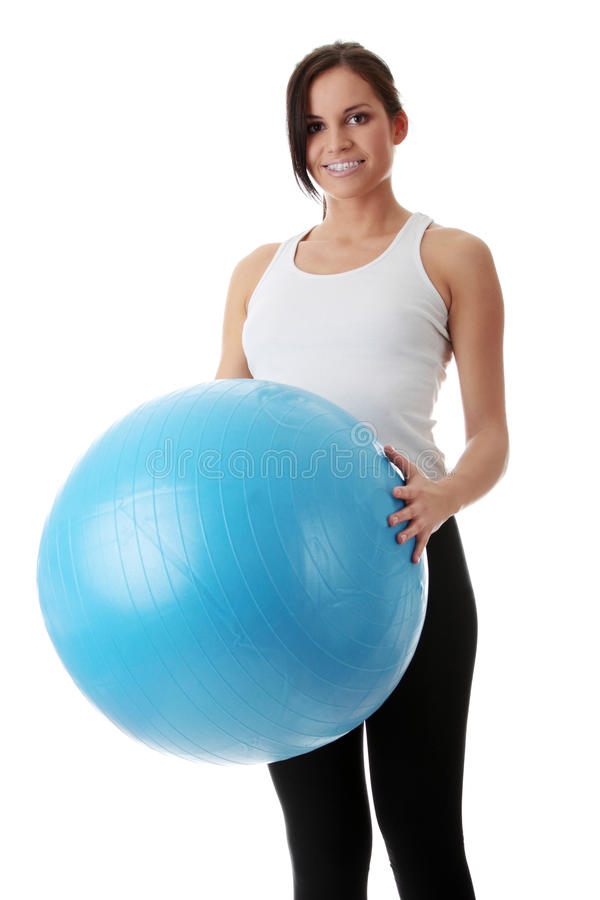 Download Woman During Fitness Time With Ball Stock Image - Image: 23535737