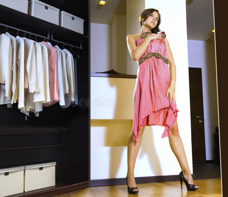 Woman Fits On A Dress Royalty Free Stock Photo