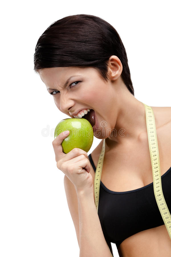 Download Woman With Flexible Ruler And Healthy Apple Stock Image - Image: 27252831