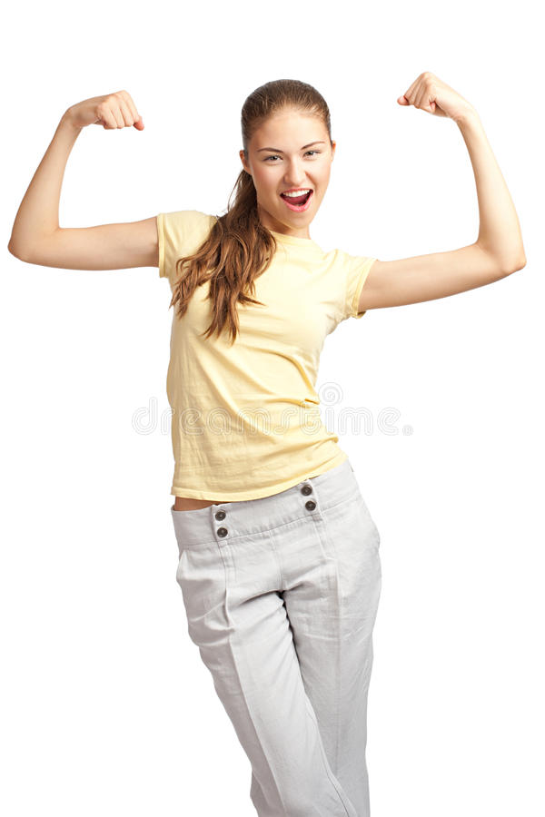 Download Woman flexing her biceps stock image. Image of attractive - 20526209