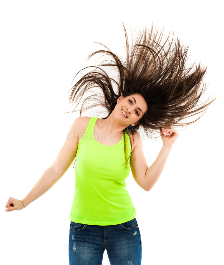 Woman flipping her hair stock images