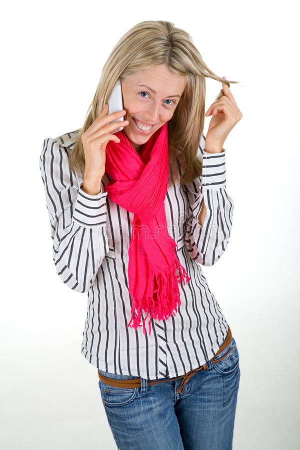 Download Woman flirting on a phone stock image. Image of dating - 22034011