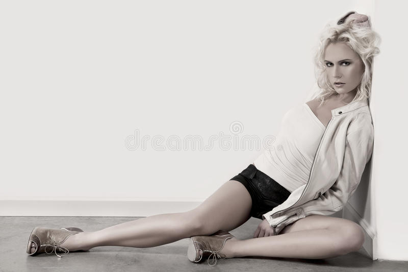 Woman On The Floor stock image