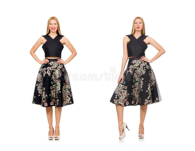 Woman in floral dark skirt isolated on white stock image