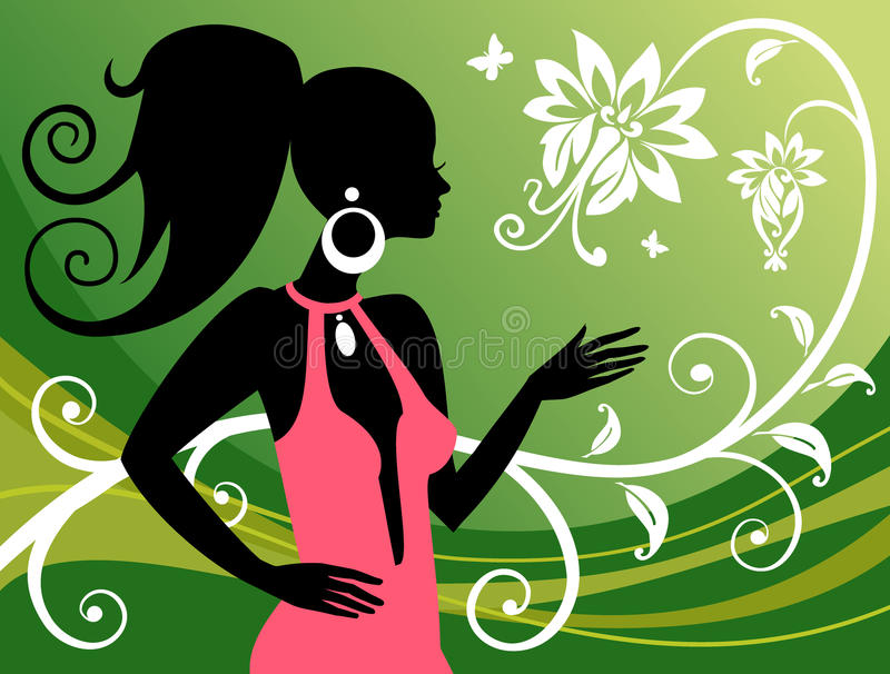 Woman and floral ornaments. Vector illustration. royalty free illustration