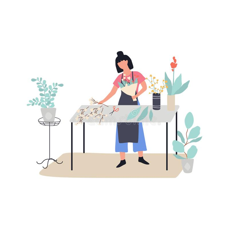 Woman florist making flower bouquet. Creative occupation. In floral shop. Floristic hobby. Isolated vector illustration in flat style stock illustration