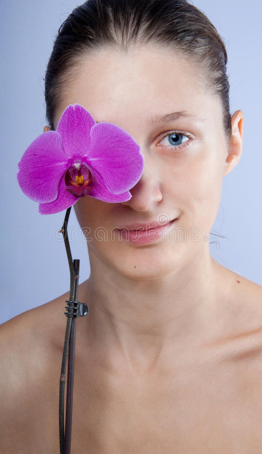Woman and flower stock photography