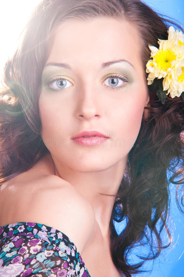 Download Woman with flower stock photo. Image of face, background - 20640264