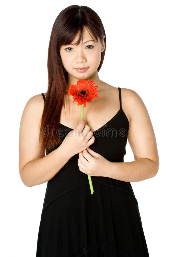 Download Woman And Flower stock image. Image of asian, adult, dress - 3233885