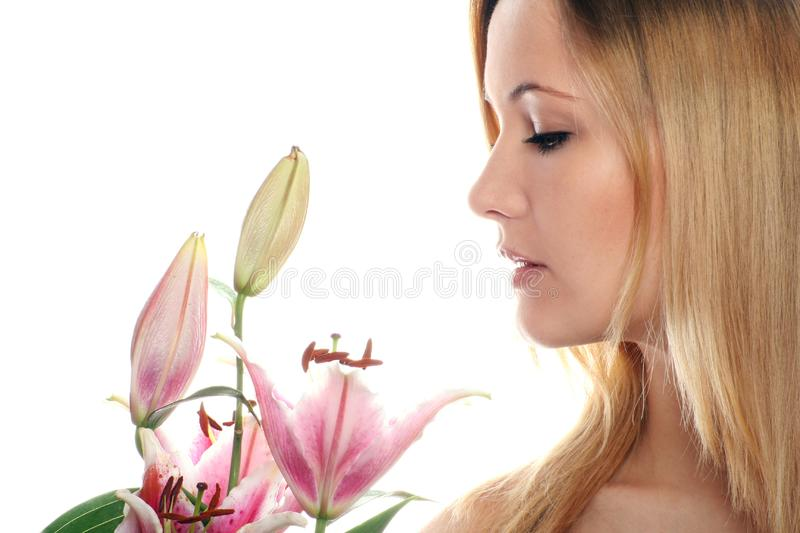 Woman With A Flower Free Stock Photography