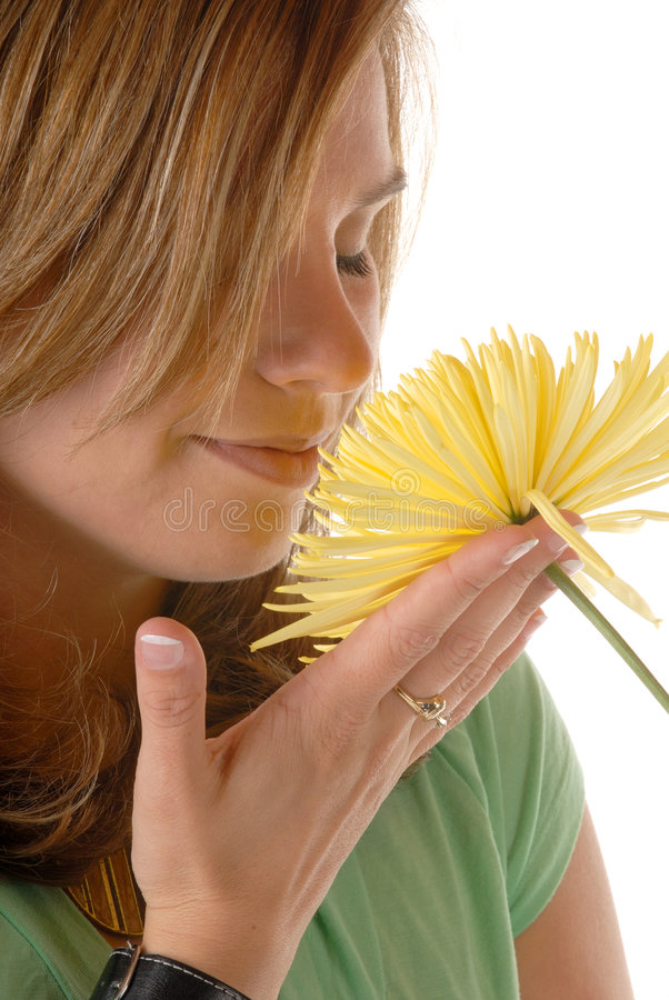 Woman And Flower royalty free stock photography