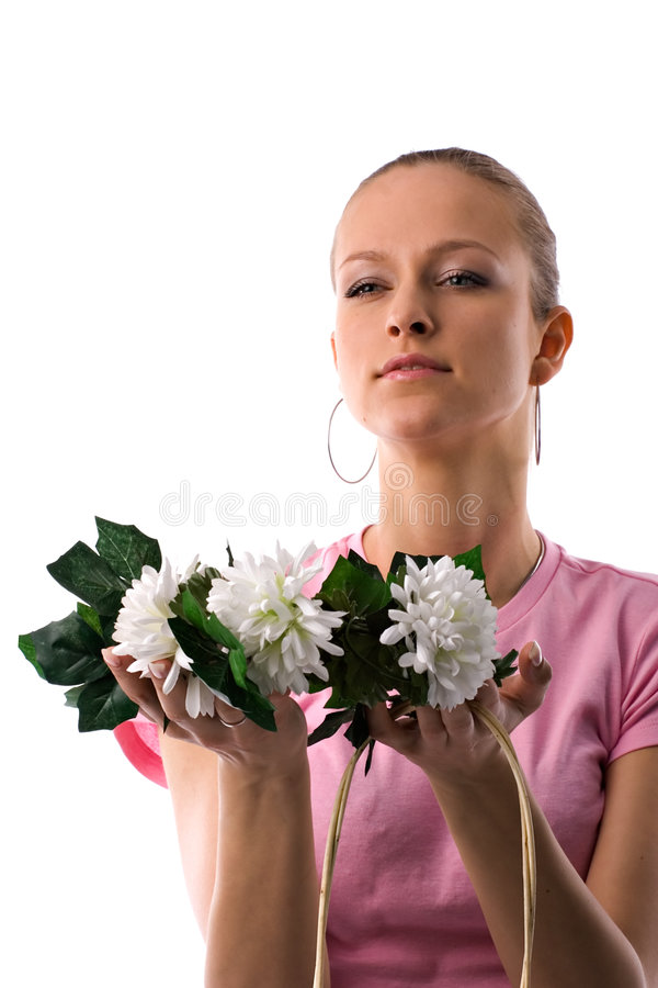 Woman with flower bouquet. Attractive young woman with flower bouquet; white studio background stock photos