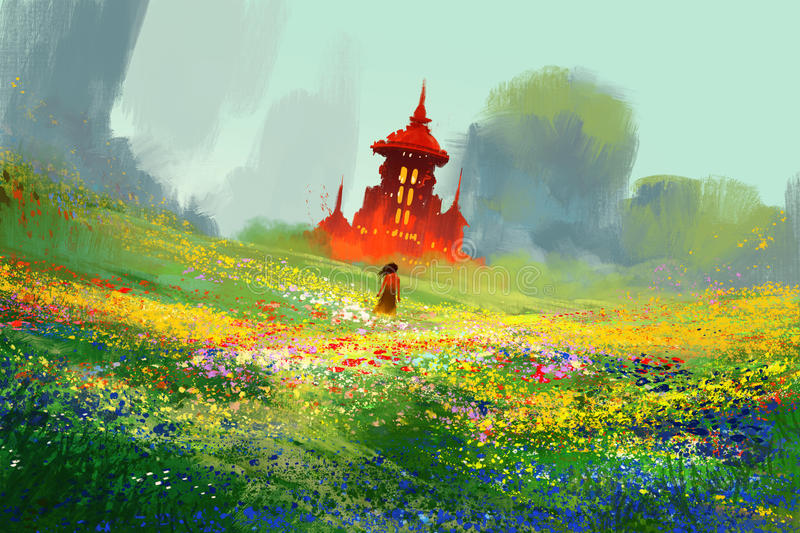 Woman in flower fields next to red castle and mountain stock illustration