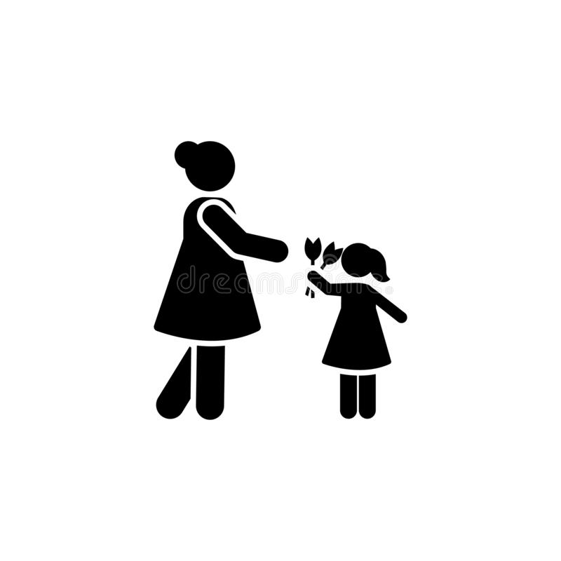 Woman, flower, girl, give icon. Element of daily routine icon stock illustration