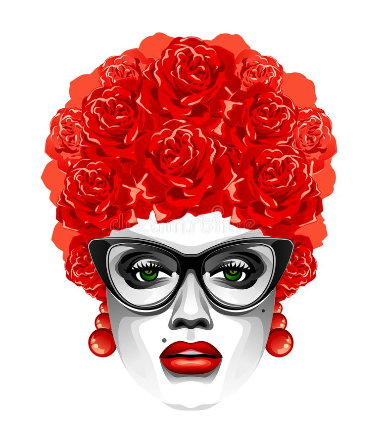 Woman with a flower hairdo royalty free illustration