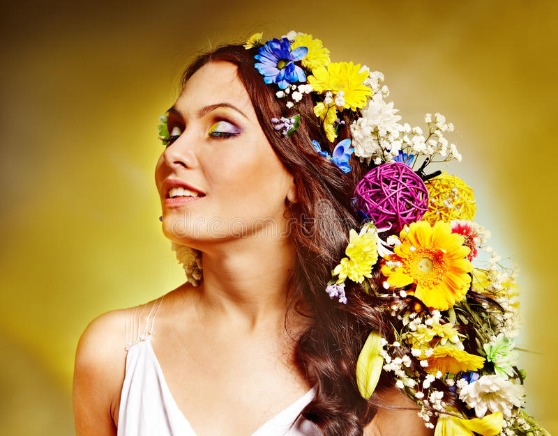 Woman With Flower Hairstyle. Stock Photo - Image of ...
