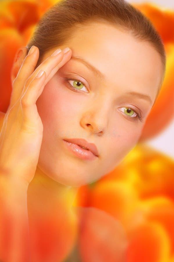 Woman. Flower skin. royalty free stock photo