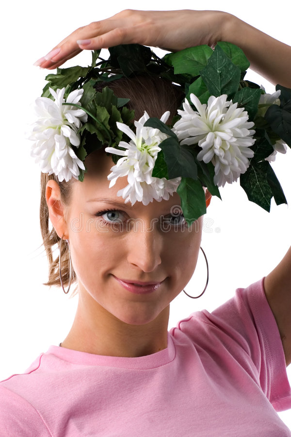 Download Woman with flower wreath stock image. Image of blossoming - 2228843