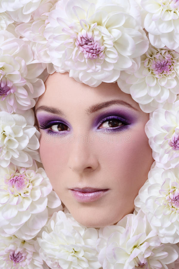 Woman in flowers stock photo