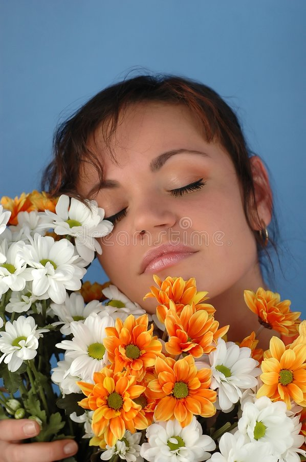 Download Woman with flowers stock photo. Image of daisy, nature - 115466