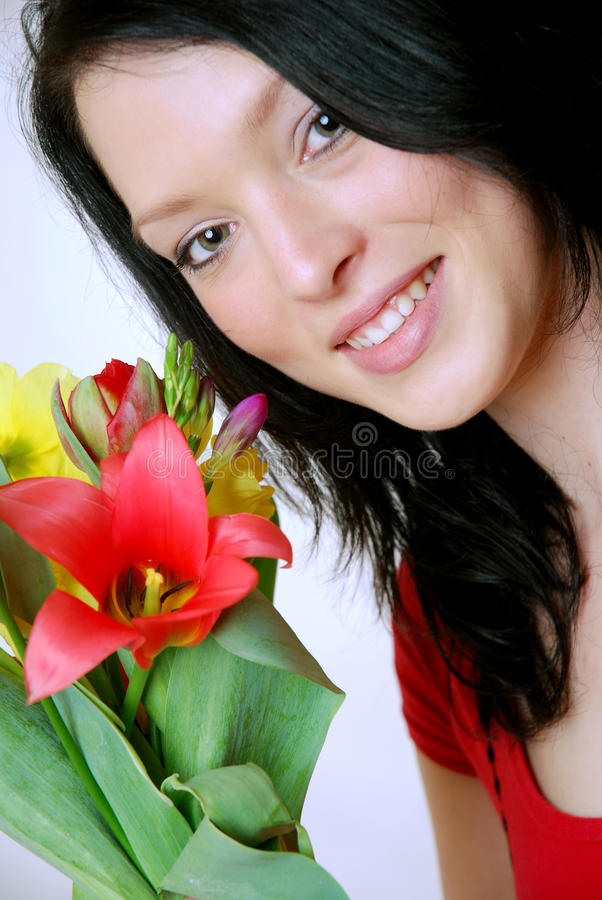 Download Woman with flowers stock photo. Image of give, mothers - 14106966