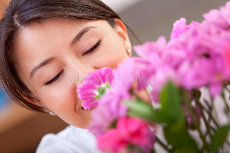 Download Woman with flowers stock photo. Image of american, smile - 15727178