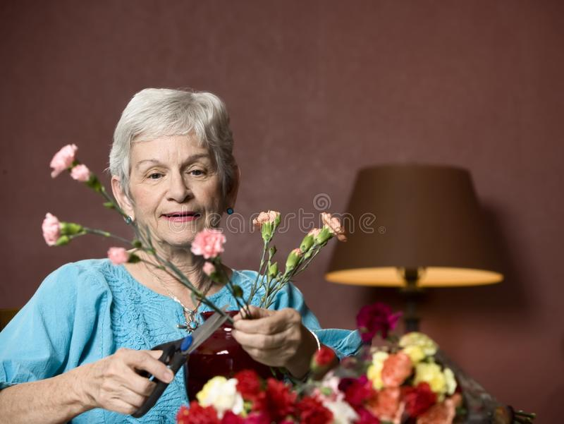 Woman With Flowers Free Stock Photography