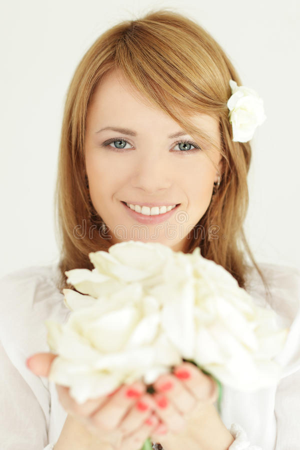 Download Woman with flowers gift stock image. Image of up, beauty - 27738297