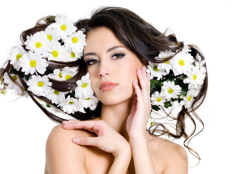 Woman with flowers in hair royalty free stock photos