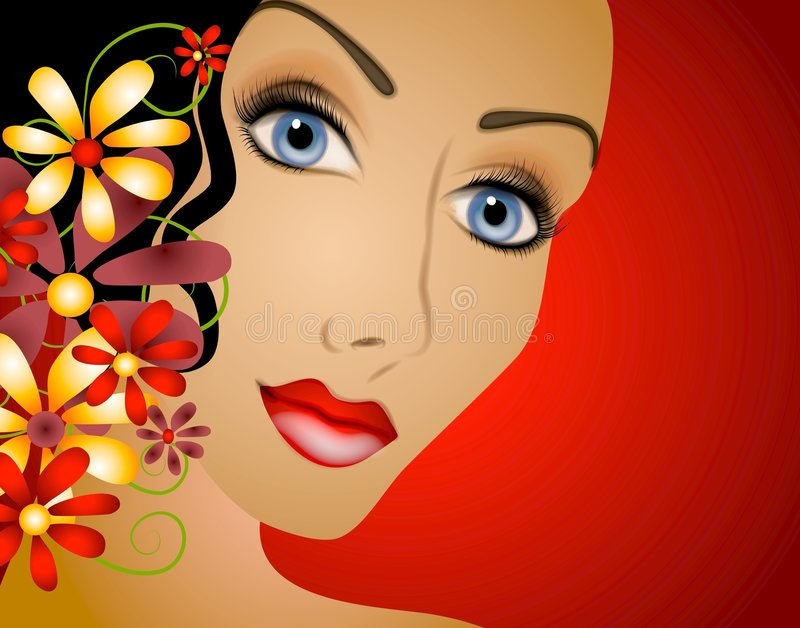 Woman With Flowers Hair 2 stock illustration