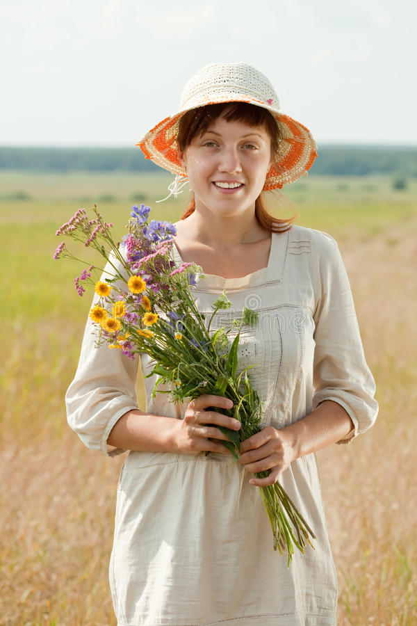 Woman With Flowers Posy Royalty Free Stock Photography