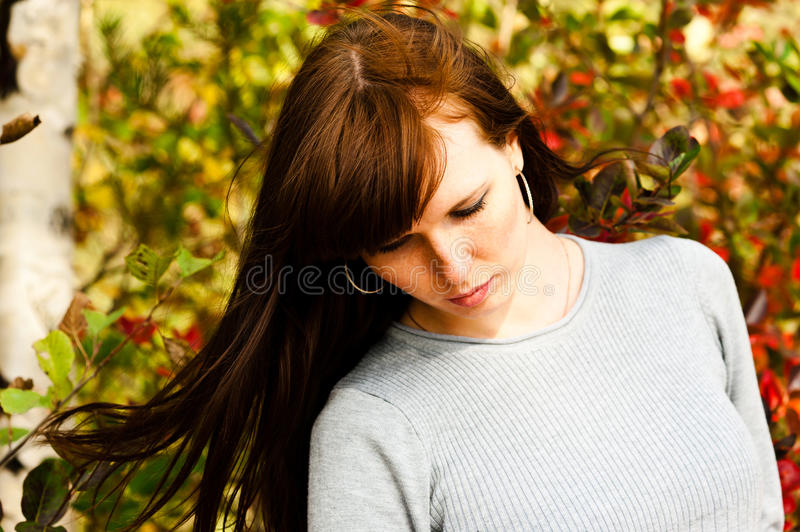 Woman with flowing hair. Beautiful woman with flowing hair royalty free stock images