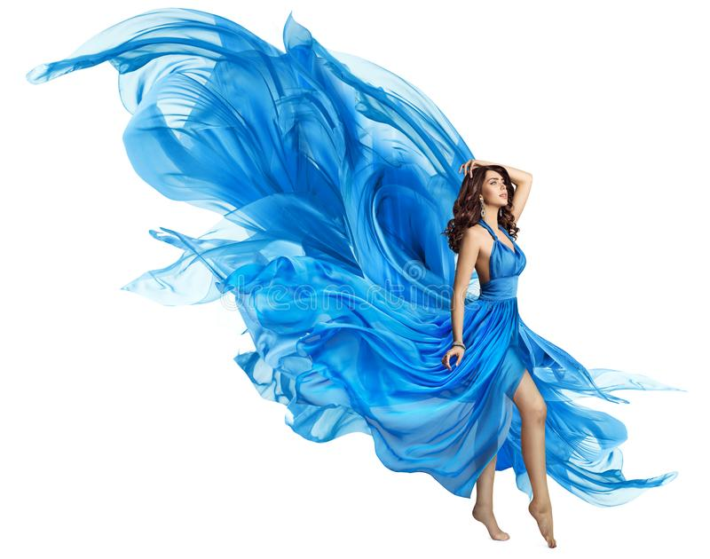 Woman Flying Blue Dress, Elegant Fashion Model Fluttering Gown royalty free stock photography