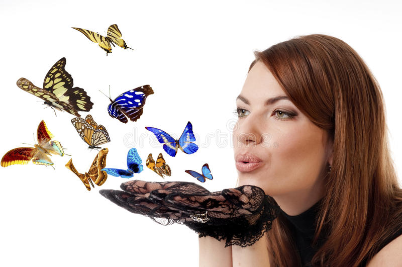 Download Woman With Flying Butterflies. Stock Photo - Image: 12120102