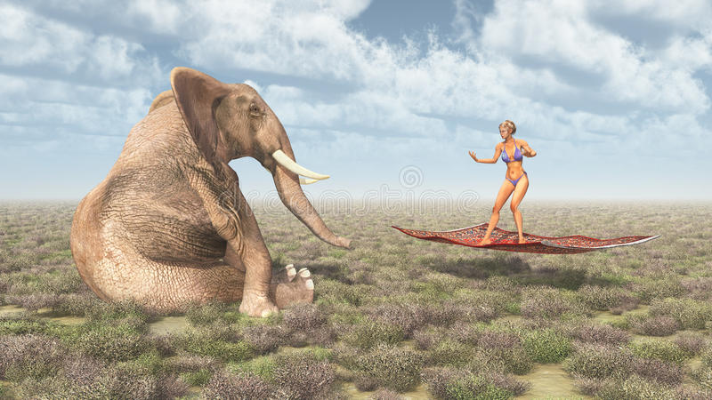 Woman on a flying carpet and sitting elephant vector illustration