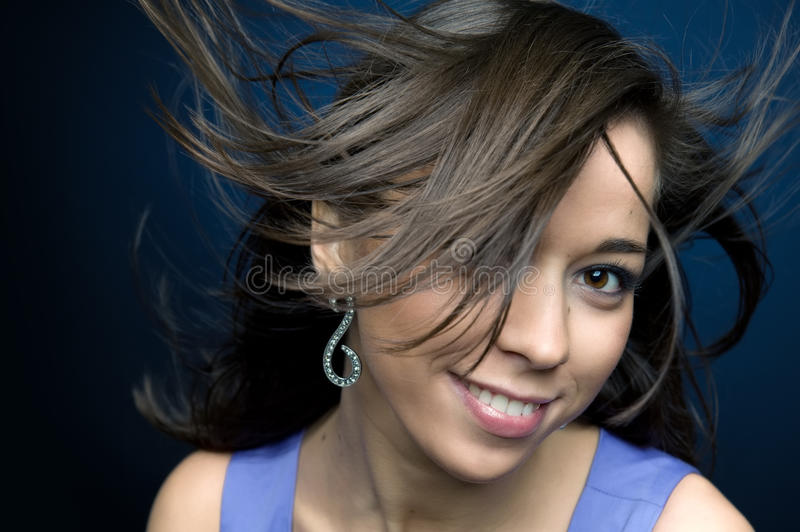 Woman with flying hair royalty free stock image