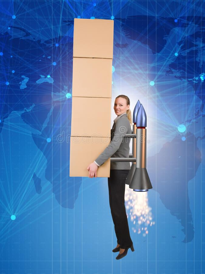 Woman flying jetpack and delivering boxes globally stock images