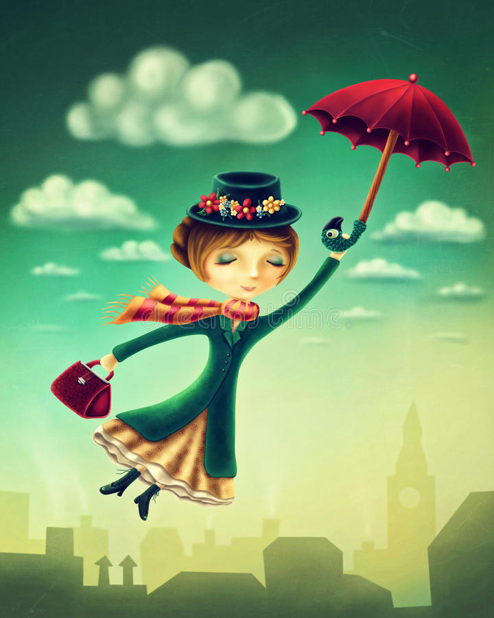 Woman flying with an umbrella. Over the city vector illustration