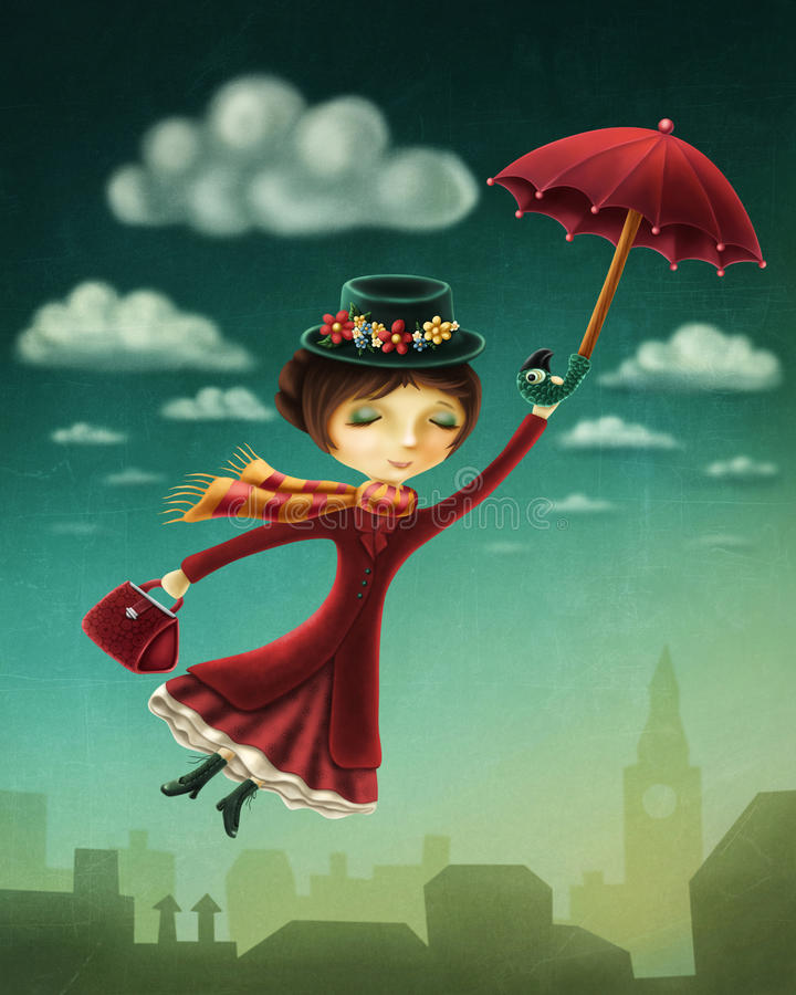 Woman flying with an umbrella. Over the city stock illustration