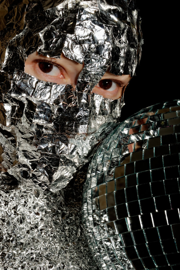 Download Woman With A Foil And Disco Ball Stock Image - Image: 8129431