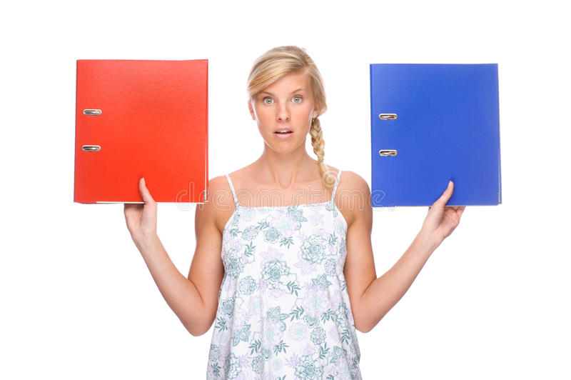 Woman with folder royalty free stock photography