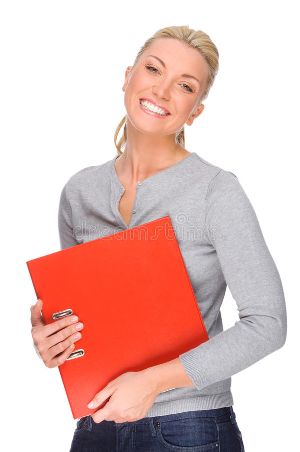 Woman with folder. Full isolated portrait of a caucasian woman with folder stock images