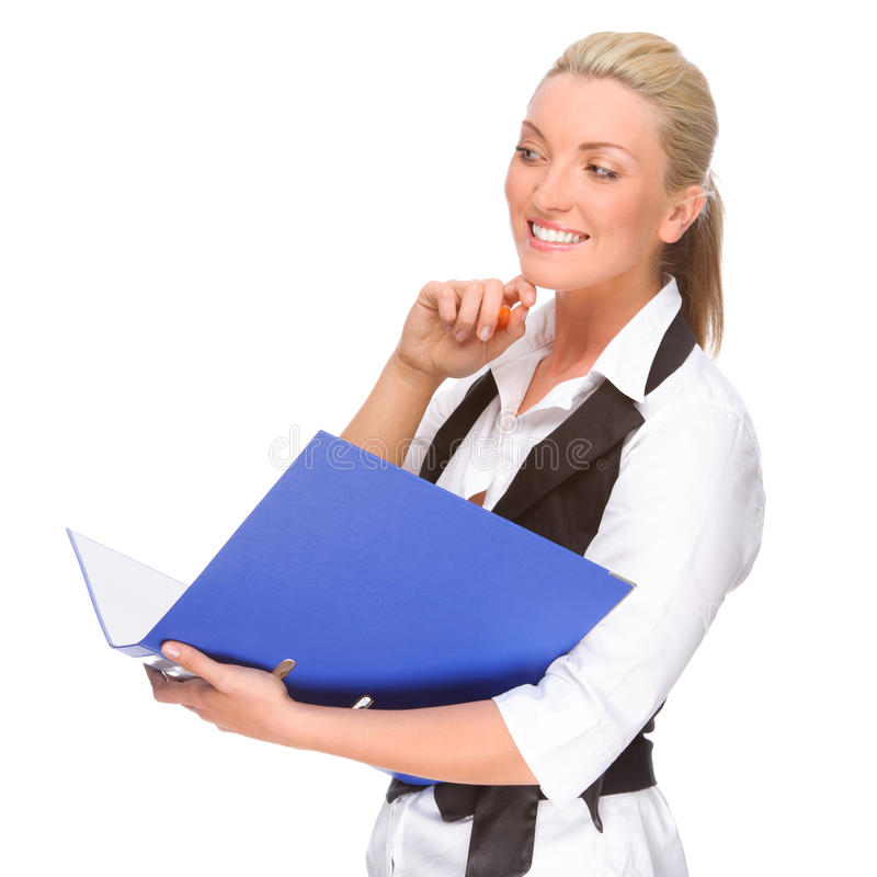 Download Woman with folder stock image. Image of blue, attractive - 25115875
