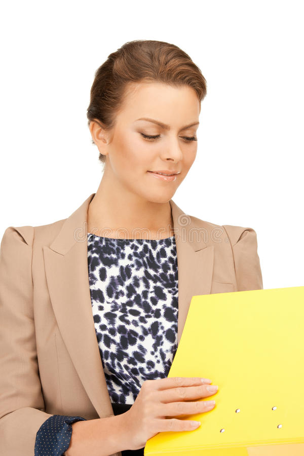 Woman with folders stock photography
