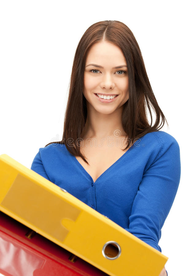 Download Woman with folders stock photo. Image of girl, documents - 20554414