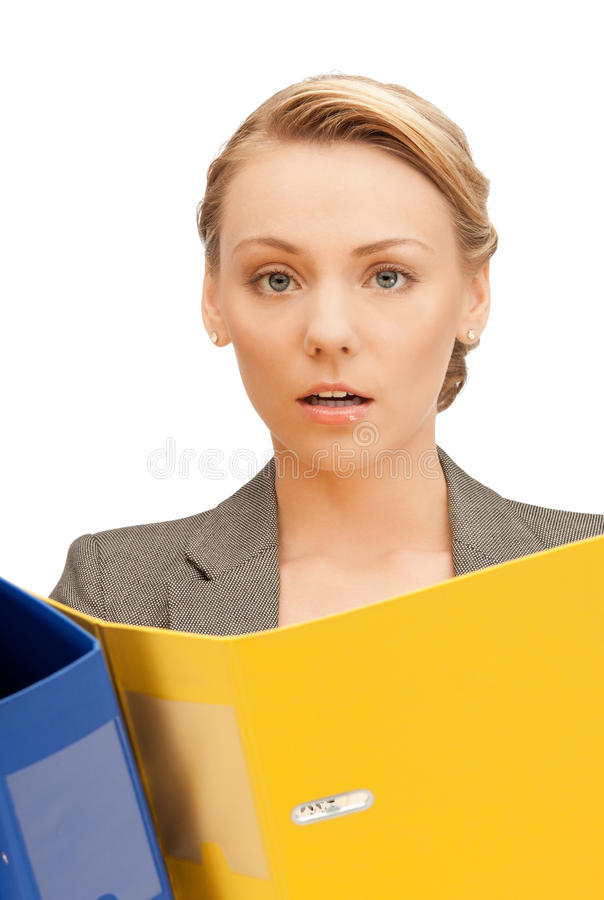 Woman With Folders Royalty Free Stock Photos
