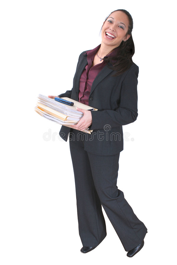 Woman with Folders. Beautiful young Asian woman holding a stack of folders and a cellphone. Shot with the Canon 20D stock image