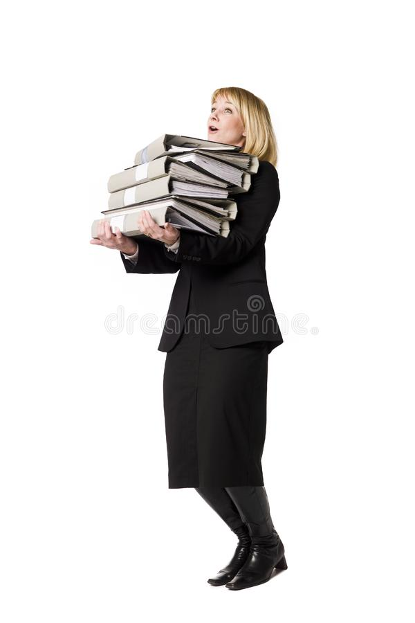 Download Woman with folders stock image. Image of binder, heavy - 8749635