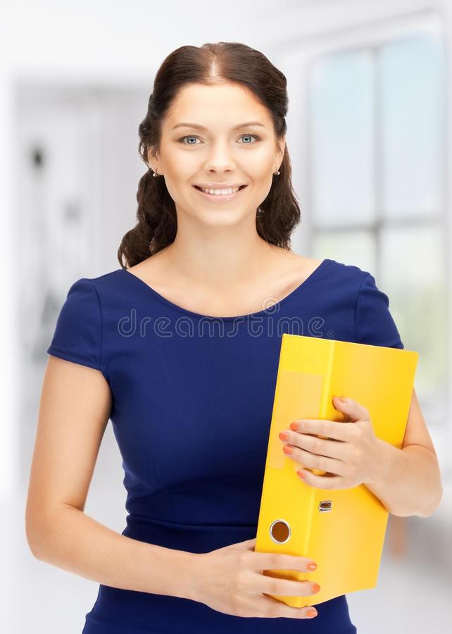 Woman with folders. Bright picture of beautiful woman with folders stock photography
