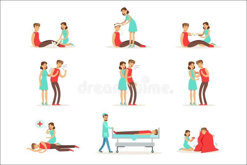 Woman Following Firs Aid Primary And Secondary Emergency Treatment Procedures Collection Of Infographic Illustrations. Rescue And Problem Management Situations royalty free illustration
